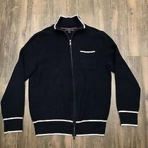 Banana Republic Mad Men Navy Blue Textured Knit Full Zip Sweater Jacket Medium Photo