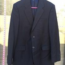 Banana Republic Men's Black Stripe Suit Jacket Wool Blazer Sz 42 Broken Button Photo