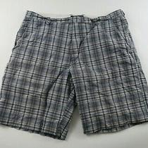 Banana Republic Mens Dark Gray Brown Plaid Khaki Chino Dress Shorts Size 38 Photo