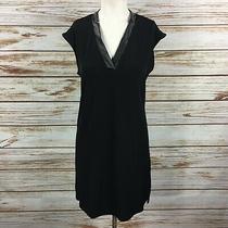 Banana Republic Midi Dress Size Xs Black Faux Leather Sleeveless  Photo