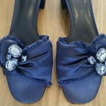 Banana Republic Navy Blue Satin Sandals Pumps Dressy Slides Shoes Women's Sz 7.5 Photo
