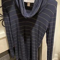 Banana Republic Navy Cowl Neck Sweater With Gold Stripes Xs Photo