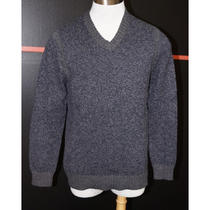 Banana Republic Navy/gray Heather Cotton Nylon and Wool Blend v Neck Sweater M Photo