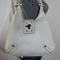 Banana Republic Offwhite Med Leather Shoulder Hobo Tote Satchel Slouch Purse Bag Photo