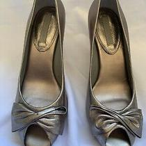 Banana Republic Open Toed Sandals Metallic Gold Blush Colored Heels Size 9 Photo
