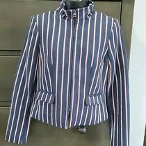 Banana Republic Ponte Navy Blue Long Sleeve Striped Jacket/blazer Size 0 Photo