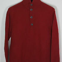 Banana Republic Red 1/2 Button Lambs Wool Cashmere Sweater Sz Xl Photo