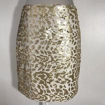Banana Republic Sequins Gold White Christmas Party Skirt Size 810 New Photo