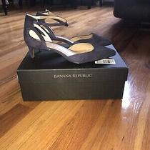 Banana Republic Shoes Side Cutout Pump Size 7.5 Navy Blue Suede Photo