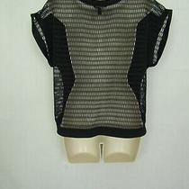 Banana Republic Short Sleeved Black Top With Mesh Back Size Small Photo
