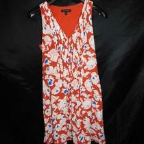 Banana Republic Size 6 Orange White Blue Floral Dress Sleeveless Pintuck Pleats Photo