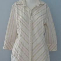 Banana Republic Size M Pink Striped Collared Button Down 3/4 Sleeve Blouse Photo
