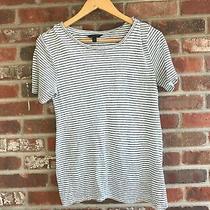 Banana Republic  Striped Linen Blend Split Back Short Sleeve Top Size S Photo