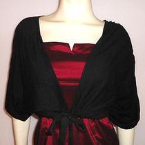 Banana Republic Sz M Black Silk Blend Cropped Knit Sweater Drawstring Waist Photo