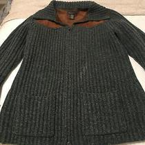 Banana Republic Sz M Womens Sweater Lambs Wool Suede Zip Up Blue/brown Photo