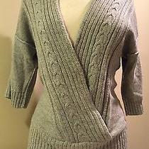 Banana Republic Sz S Gray Shawl Collar Cable Knit Cardigan Oversized Sleeve Photo