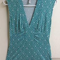 Banana Republic Sz S Stretch Tank Top Abstract Floral Aqua Blue and White Photo