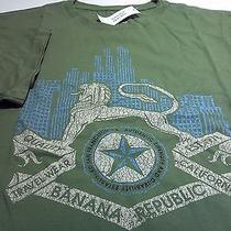 Banana Republict-Shirtnewsz Lgreen Cottongryphon/skyline/star Graphicnwt Photo