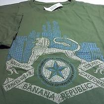 Banana Republict-Shirtsz Mnewgreen Cottongryphon/skyline/star Graphicnwt Photo