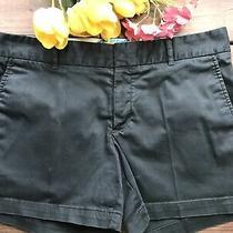 Banana Republic Trina Turk Womens Chino Shorts Sz 8 Black W/floral Waistband Photo