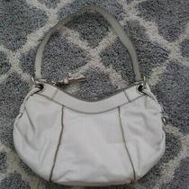 Banana Republic White Genuine Leather Zip Top Hobo Shoulder Bag Handbag Purse Photo