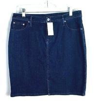 Banana Republic Women's Blue Jean Skirt Sz 8 Dark Pencil Stretch Msrp 88 New R Photo