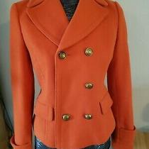 Banana Republic Women's Jacket Blazer Orange Button Pea Coat Size Xs Super Cute Photo