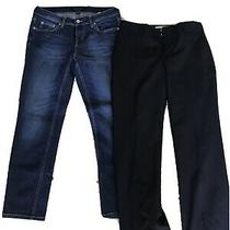 Banana Republic Womens Pants Size 2 Petite 1 Blue Jean 1 Black Dress Photo