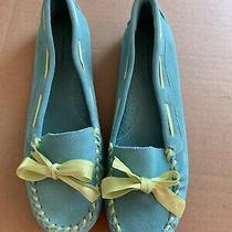 Banana Republic Women's Shoes Flats Teal Turquoise Green Bow Suede Loafers 8 Photo
