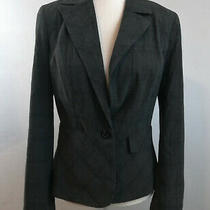 Banana Republic Womens Blazer Jacket Size 4 Gray Plaids Checks One Button Coat Photo