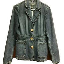 Banana Republic Womens Blue Jean Jacket Size 4 Denim Blazer Button Front  Photo