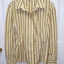 Banana Republic Womens Gold Brown Stripe Size M Button Front Tailored Fit Shirt  Photo