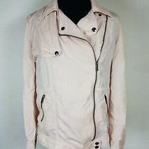 Banana Republic Womens Size Xs Moto Jacket Oversized Boxy Zip Light Blush Tencel Photo