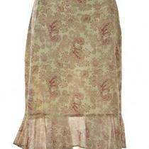 Banana Republic Womens Skirt Size 8 Beige Pink Paisley Below Knee Cotton Photo