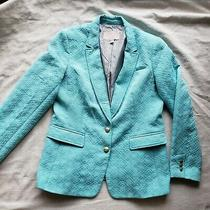 Banana Republic Womens Turquoise Textured 2 Button Bay Breeze Blazer Size 14  Photo