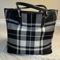 Banana Republic Wool Purse Leather Handle Handbag black&white Plaid Photo