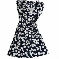 Banana Republic Wrap Dress Sz 10 v-Neck Short Sleeve Blue Polka Dot Tie Waist J1 Photo
