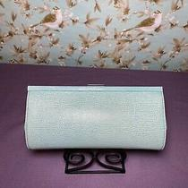 Banana Repulic Clutch Teal Leather Snakeskin Embossed Photo