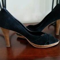 Bandalino  Black Suede Women's Peep Toe Heels.... Very Comfy Like New Photo