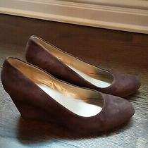 Bandolino 100% Suede Leather Brown Wedge Heels Size 9 Excellent Condition Photo