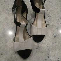 Bandolino 2 Toned Wedge Heel T Strap Shoes Buckle Strap Open Toe Photo