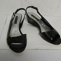 Bandolino 6 M New Womens Ramses Black Leather Wedge Slingback Sandals Shoes Photo
