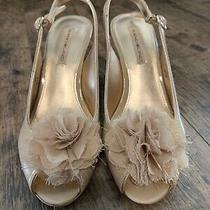 Bandolino Arlin Beige Peep Toe Flower Pump Heels Dress Shoes Size 6.5 M Euc Photo