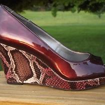 Bandolino Auburn Patent Leather Snakeskin Print Wedges Platform Heels Sz 6.5 New Photo