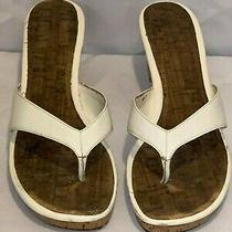 Bandolino Aveta White Thong Wedge Sandal Sz 10 Leather Thong/flip Flop Style Photo