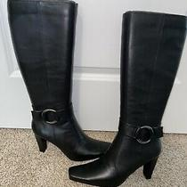 Bandolino Bdioela Women Boots Leather Side-Zip Knee 3.5