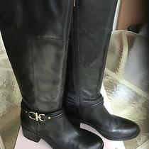 Bandolino Bdulla Womens 8m Black Leather Tall Knee High Boots Gold Hardware Photo