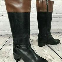 Bandolino Black / Brown Leather Riding Boots Women's Size 8 M Photo