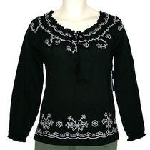 Bandolino Black Embroidered Long Sleeve Peasant Tunic Shirt Top Womens S New Photo