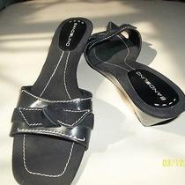 Bandolino Black Leather and Suede Bowtie Wedge Heels Sz 9.5m Photo